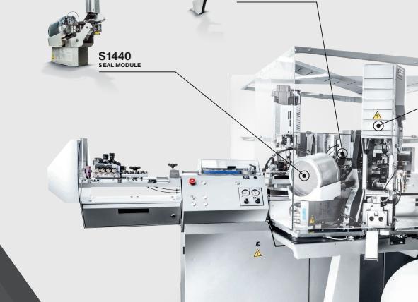Komax Alpha 550 - автоматическая линия для двухсторонней опрессовки и установки уплотнителя: схема