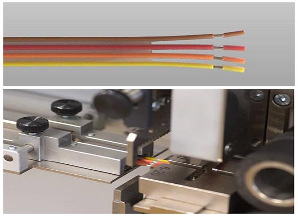 Процесс обработки проводов на станке Komax Kappa 330